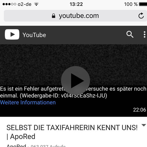der fehlercode. - (Youtube, iPhone, Apple)