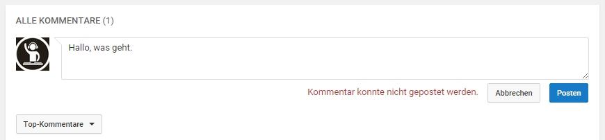 Youtube Kommentar Kann Nicht Gepostet Werden