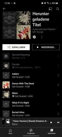 YouTube music hängt sich auf?