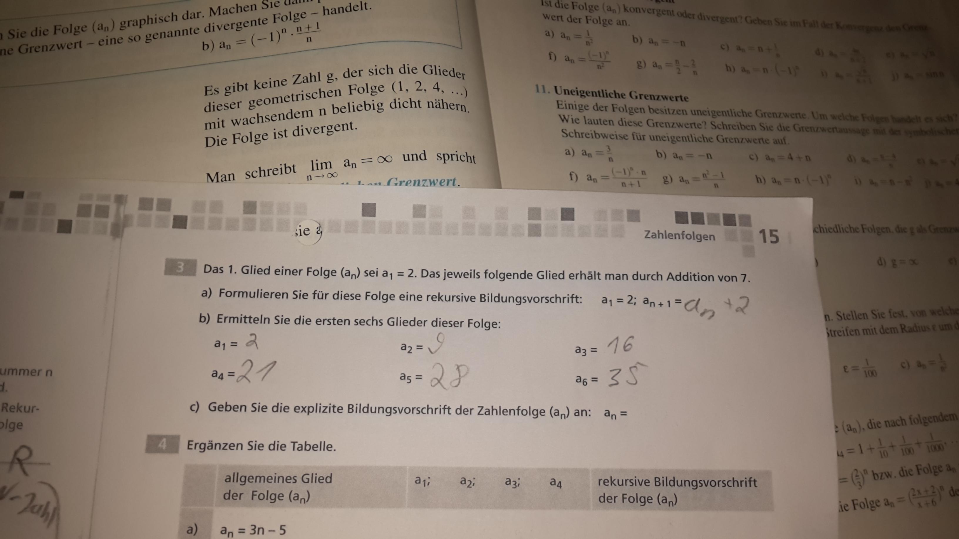 Zahlenfolge klasse 11 Aufgaben richtig gelöst? (Mathe, Zahlenfolgen)