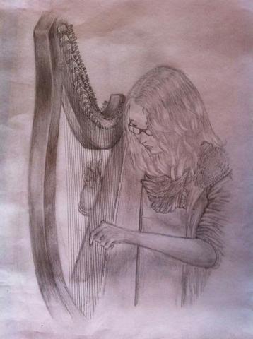 meine Cousine an der Harfe :) - (zeichnen, Zeichnung, portrait)