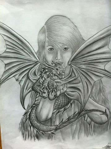 Mädchen mit Drachen (Victoria Francis) - (zeichnen, Zeichnung, portrait)