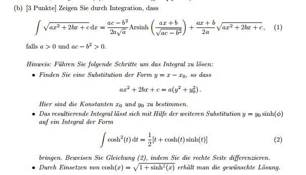 Zeigen durch Integral dass wurzel(ax^2+2bx+c) mit Arsinh(x ...