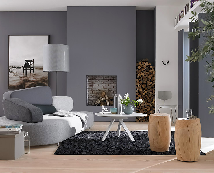 wohnzimmer modern streichen grau. Black Bedroom Furniture Sets. Home Design Ideas