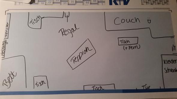 Zeichnung - (Fernseher, Zimmer, Einrichtung)