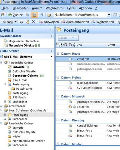 Ansicht Outlook - (PC, Outlook 2007)