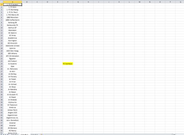 Tabelle 2 - Vereine in einer kompletten Liste bis A632 - (Excel, Funktion, Verein)