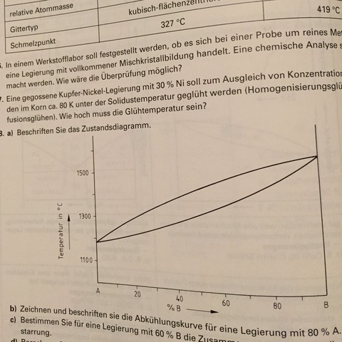 Es geht hier um die Aufgaben a) und b) - (Maschinenbau, Werkstofftechnik, Zustandsdiagramm)
