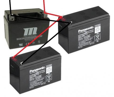 Zwei Bleigel-Akkus (12V, 7,2Ah) mit wartungsfreier Batterie (12V 5Ah ...