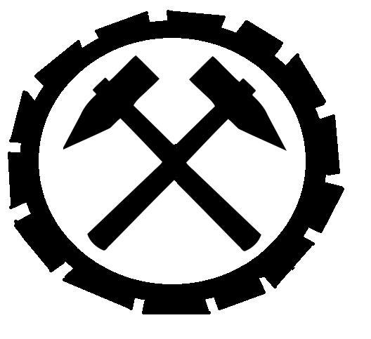 zwei gekreuzte h mmer in einem zahnrad bedeutung arbeit zeichen logo. Black Bedroom Furniture Sets. Home Design Ideas
