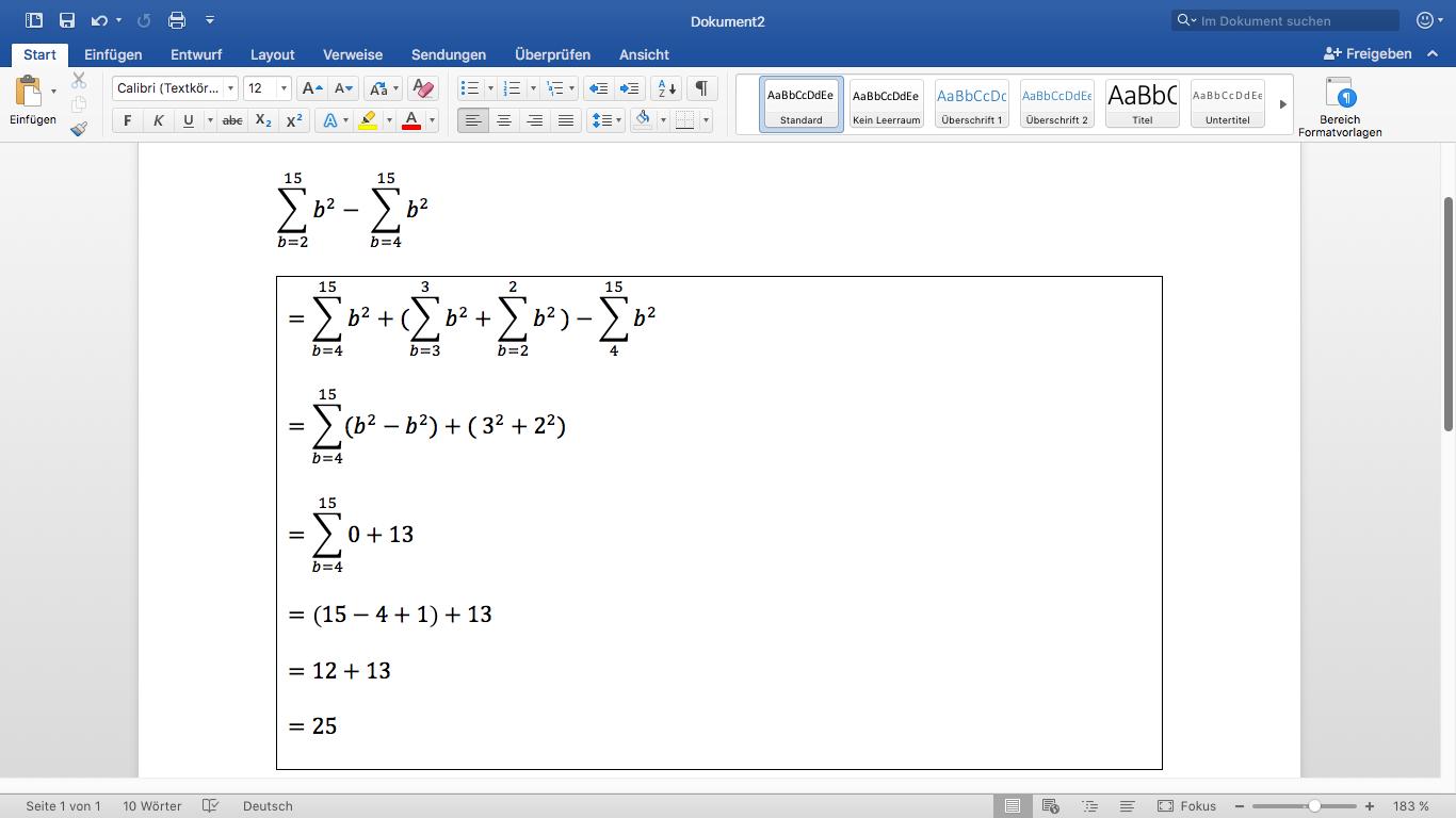 zwei summen berechnen mit verschiedenen grenzen mathe