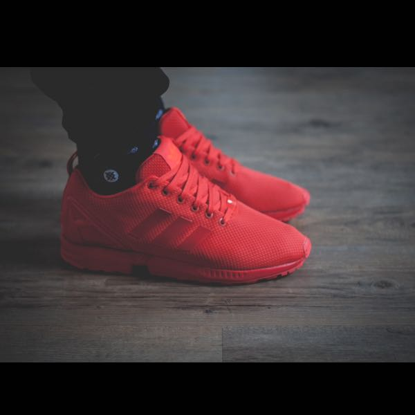 new style fd4dd 4b586 zx flux adidas all red