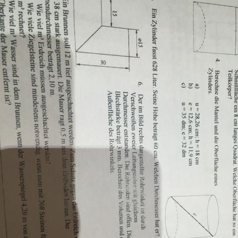 Zylinder Übungen Mathe? (Realschule, Rechnen, Volumen)
